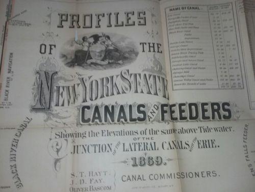 1869 map of New York Canals: Erie Oneida Champlain Oswego Cayuga Seneca 40x26