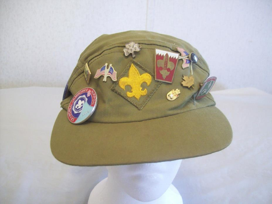 VINTAGE BOY SCOUT CAP WITH PINS