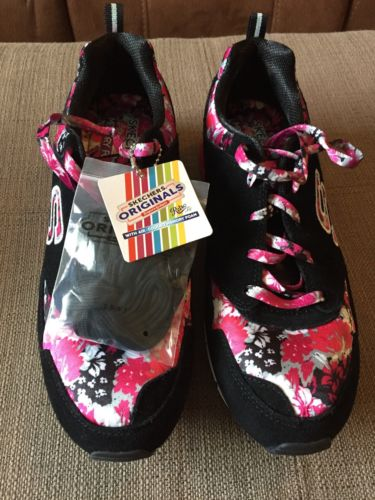 Skechers Sport Womens Floral Print Fashion Sneaker, Black/Multi, Size 9.5