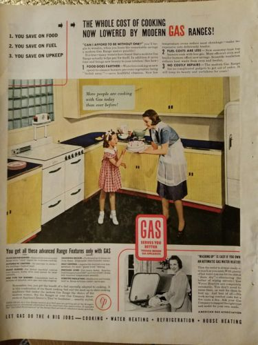 1940 retro GAS kitchen yellow cabinets mother birthday cake ad
