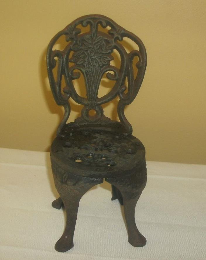 Vintage Miniature Cast Iron Garden Chair - Doll Display, Plant Stand, Book End