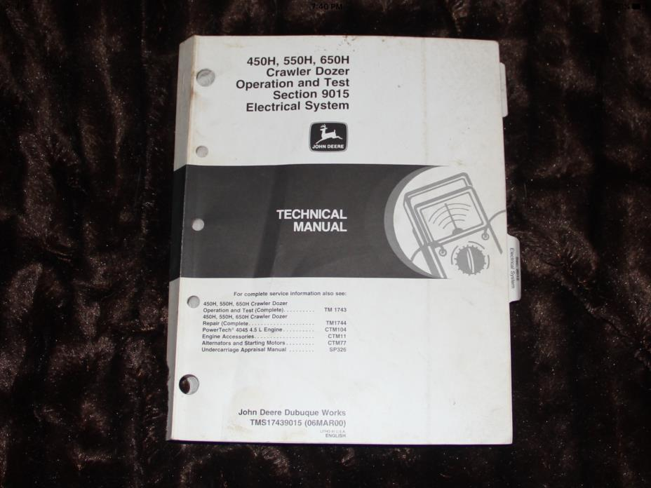 JOHN DEERE 450H 550H 650H dozer electrical system service manual TMS17439015