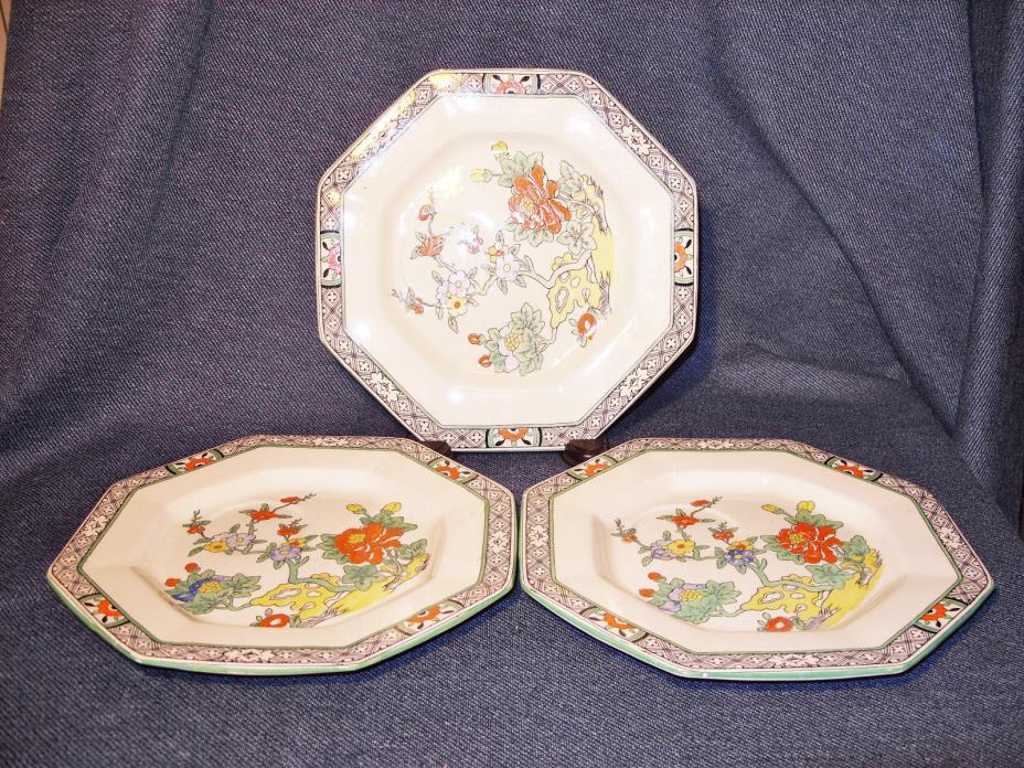 3 Unusual Antique Mason's White Ironestone Octagonal Chinese Plates England EUC