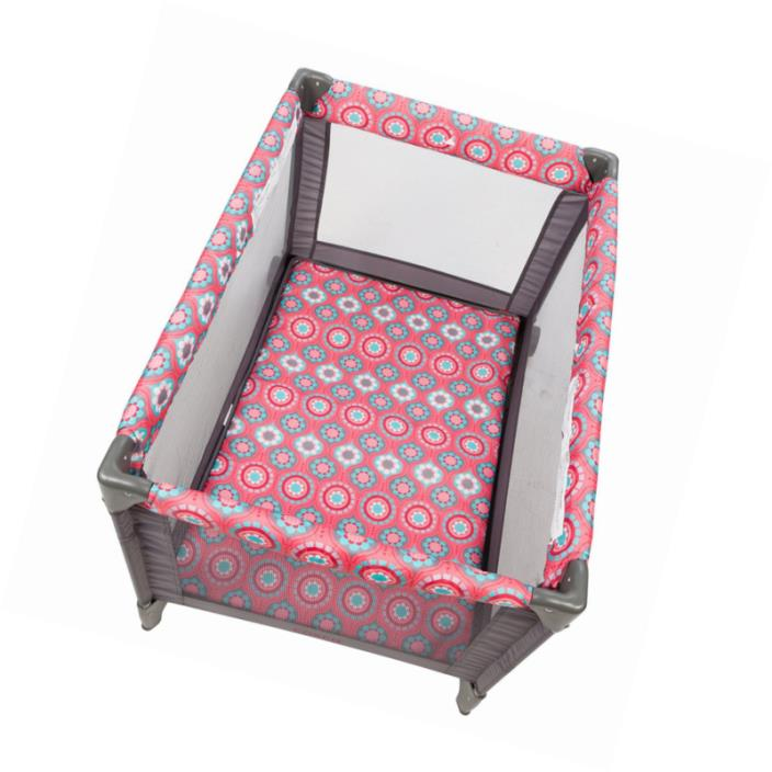 Flowered Funsport Baby Pink Play Yard Posey Pop Wheeled Crib Travel Portable New