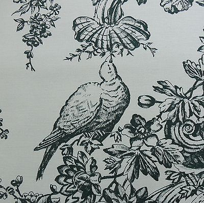 SCALAMANDRE L'OISEAU BIRD TOILE PRINT DEEPEST HUNTER GREEN BLACK BTY #971