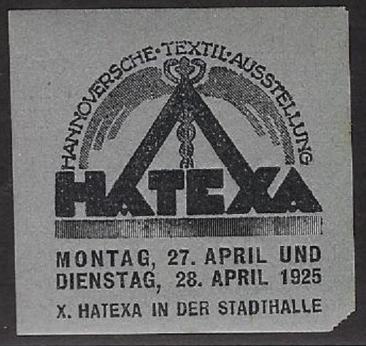 Poster/ Cinderella Stamp:1925 HATEXA Hanover Textile Exposition, Germany - dw726