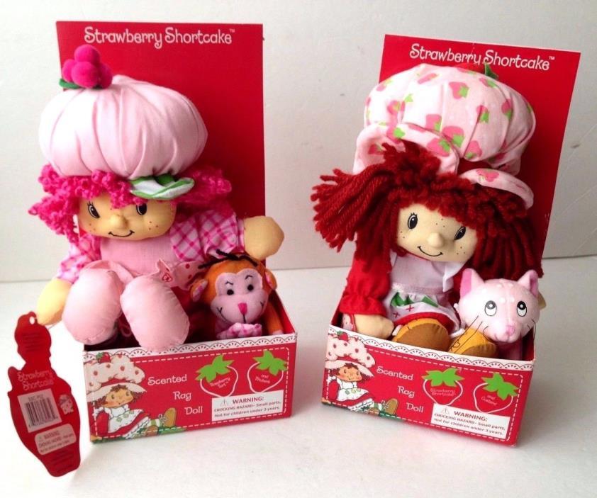 2 New Strawberry Shortcake rag dolls Raspberry Custard Rhubarb pets