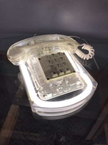 1980s CLEAR ROXANNE NEON WHITE PUSH BUTTON PHONE VINTAGE WORKS TV Set Telephone