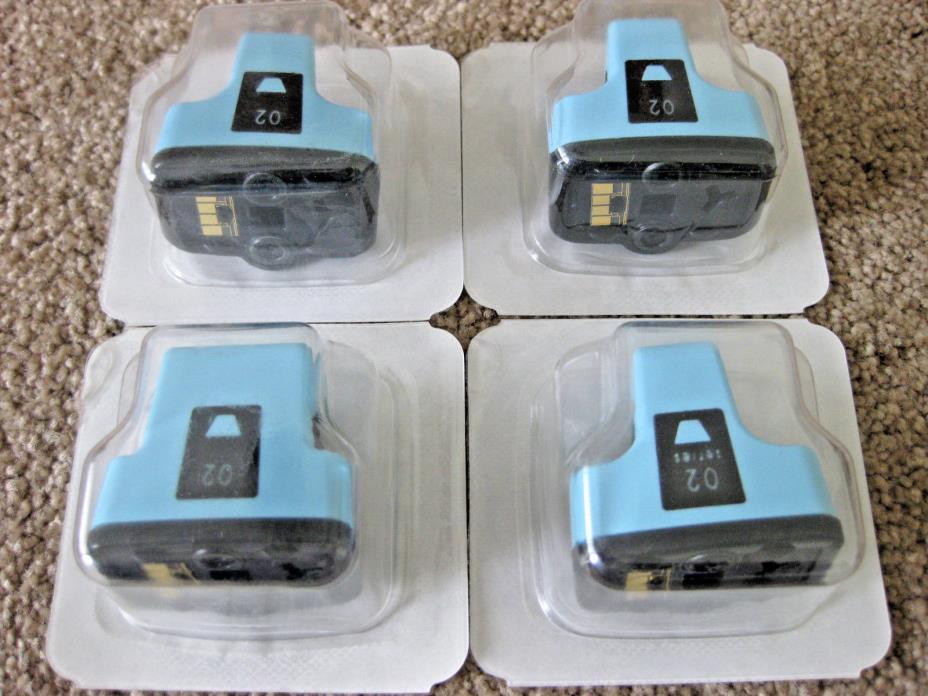 Lot of 3 NEW Genuine C8774W CB283W HP 02 Light Cyan Ink Cartridges OEM Sealed