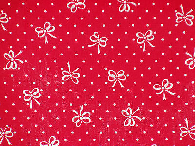 Cotton fabric white polka dots and white bows print on red