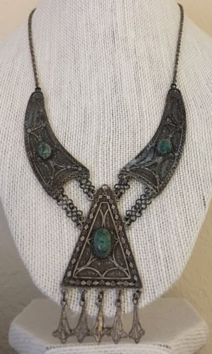 Beautiful Antique Victorian Sterling Silver Turquoise Pendant Necklace
