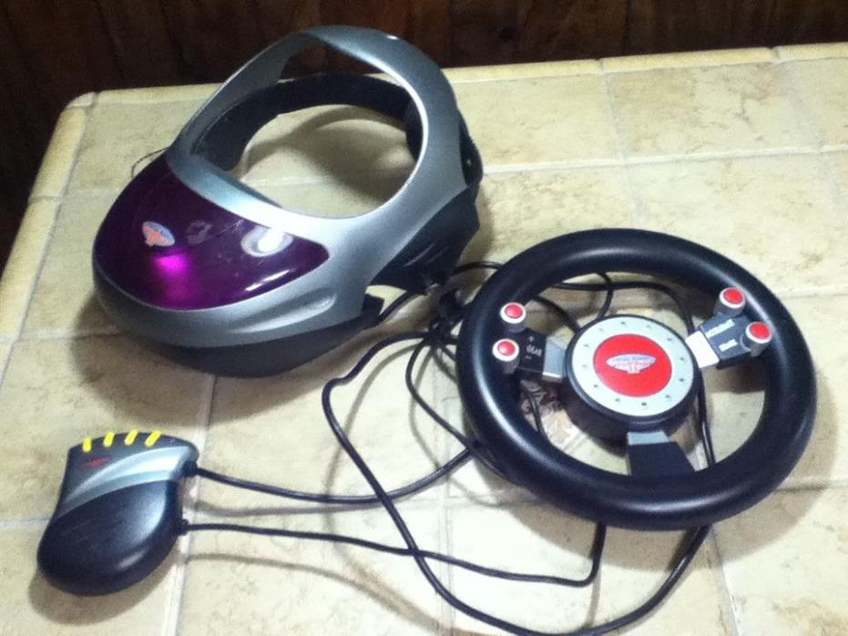 Vintage Virtual Reality World II Racing Game w/ Headset and Steering Wheel