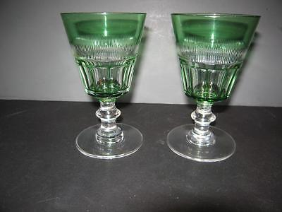 2 Pairpoint Wine Glass Green Cut To Clear Mitre & Flutes With # 5000 Stem & Foot