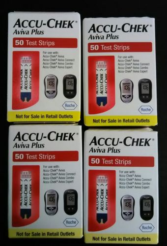 Accu Chek Aviva Plus Diabetic Test Strips 4 × 50 ct Exp 03/2018