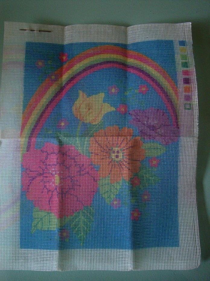 Needlepoint Kit Picture of Flowers with Rainbow Stamped Design 9 x 12