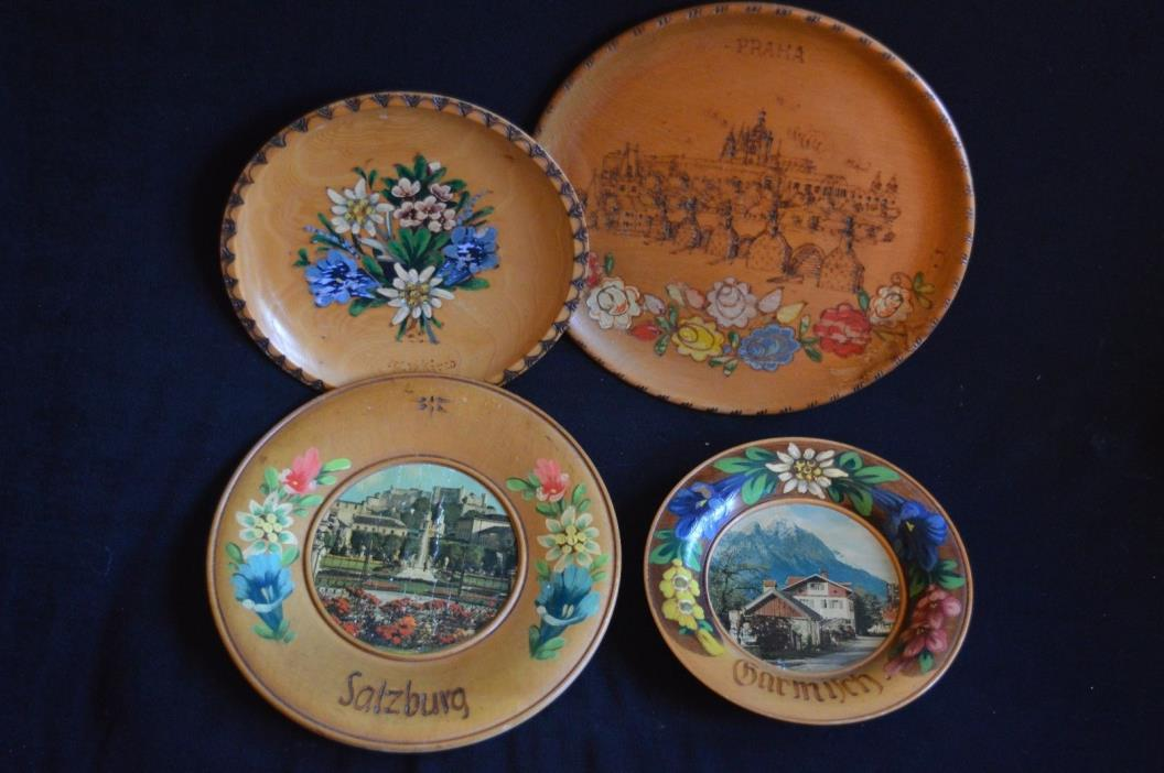 Lot of 4 German Austrian Vintage wood wall plaques plates painted pyrography