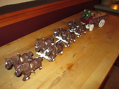 VINTAGE CAST IRON BUDWEISER BEER CLYDESDALE HORSES AND WAGON, 2 DRIVERS, GOOD