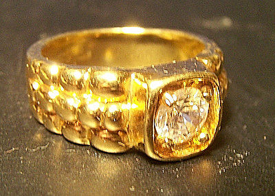 Mens Heavy 14KT Lind HGE Clear CZ Size 10 Ring