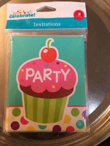 Unique Cupcake Party Invitations, 8ct New