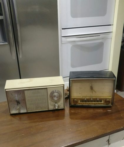 Lot of Two Vintage Radio Alarm Clocks / Westinghouse and General Electric