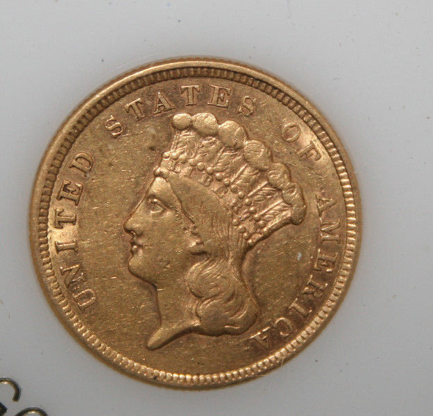 1854 $3 UNITED STATES GOLD INDIAN PRINCESS HEAD