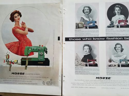 1954 Morse sewing machine Ilka Chase Jeanne Crain Dorothy Collins 2 page ad