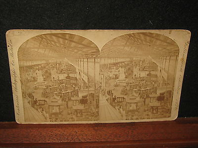1876 International Exhibition Corliss Stationary Engine Mach Hall Stereoview PA