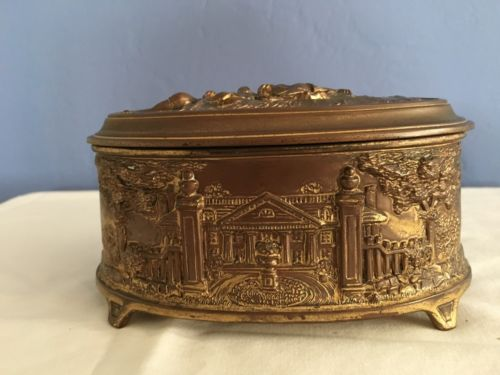 Antique Weidlich Brothers Metal Casket Jewelry Box