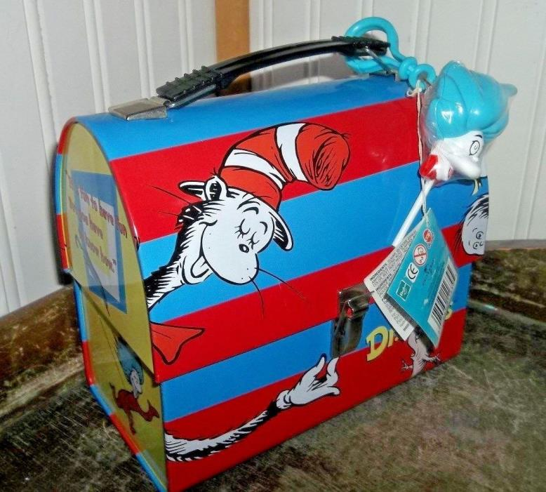 RARE 2003 Dr. Seuss Cat in the Hat Dome Metal Lunch Box & Hang Tag & Pop Topper