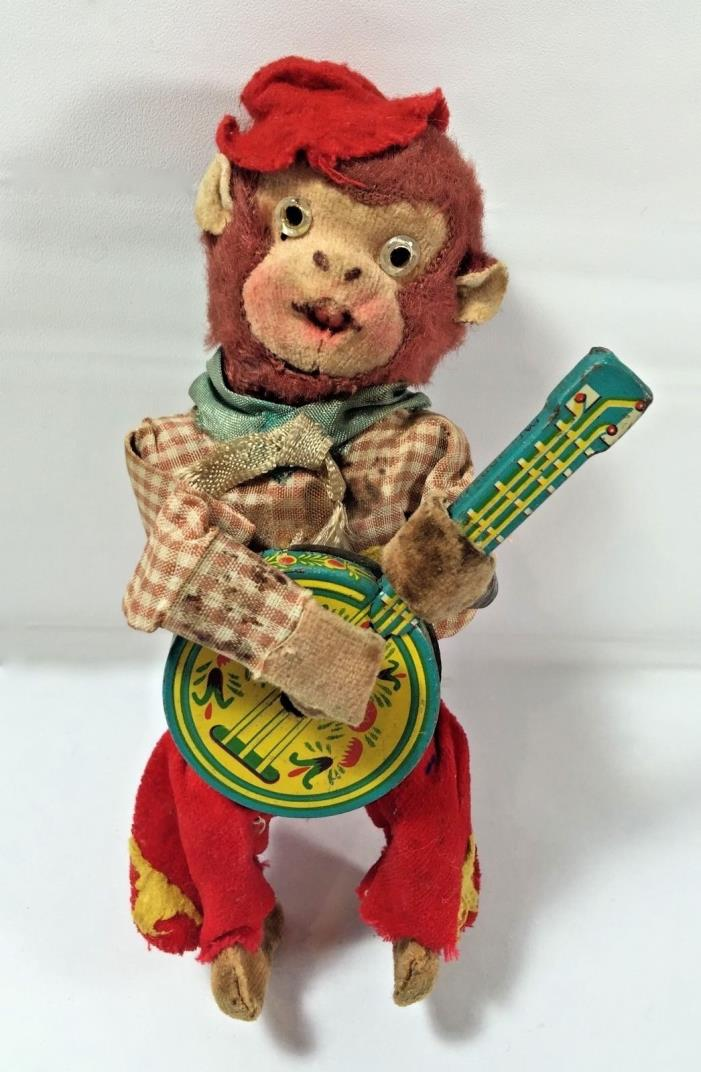 Vintage Wind Up Toy Monkey Playing Banjo Japan 6