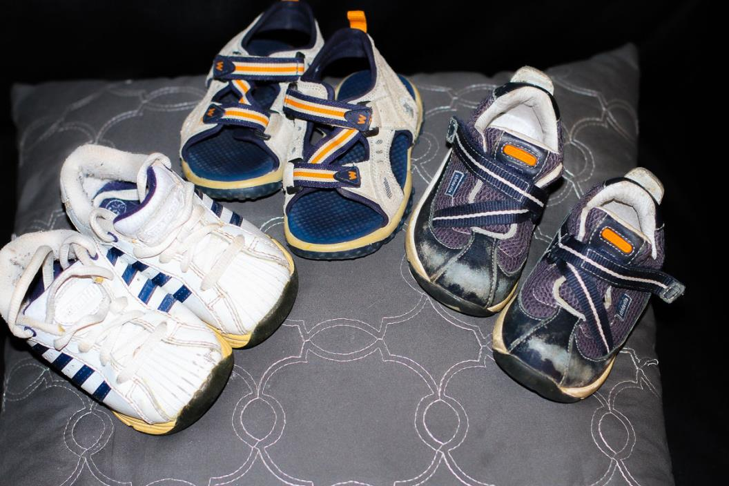 3 Pairs Children Toddler Shoes Sandals Reebok/K Swiss/Striderite Size 6/6W/6 1/2