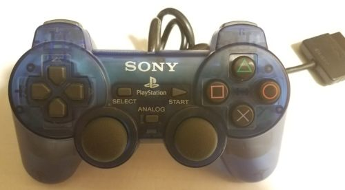 Official Sony Playstation 2 PS2 Clear Blue- Blue Controller (SCP 10010)