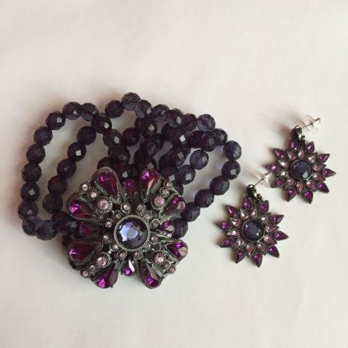 Purple stone/bead Earring & Bracelet Set