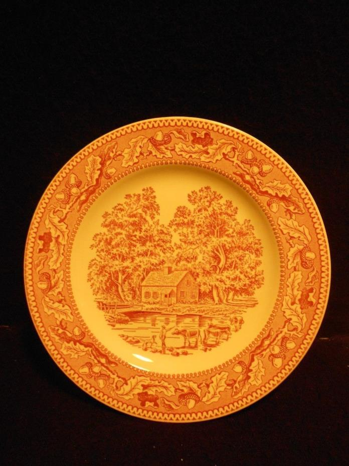 Royal Ironstone Memory Lane c. 1965 Red and White Dinner Plates Lot of (4)