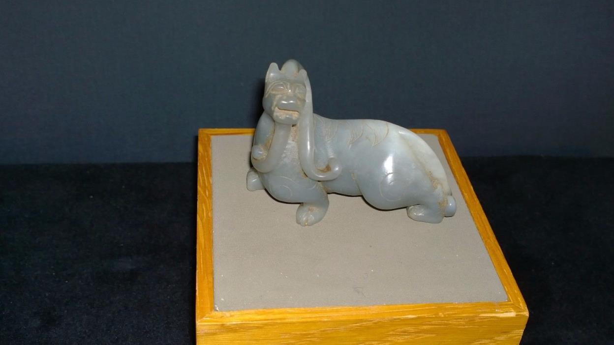 Fine Nephrite Jade Gray/White Small Dragon Statue Sinuous Form 2 3/4