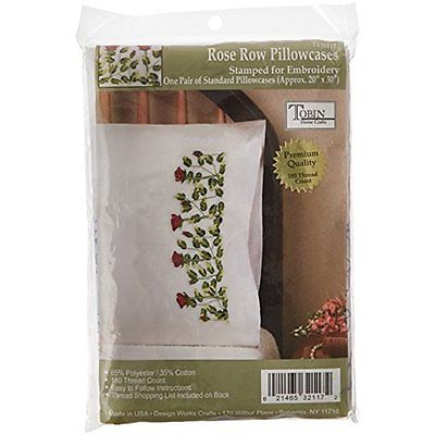New Tobin Stamped Pillowcase Pair Stamped Cross Stitch Kit for Embroidery, 20 by