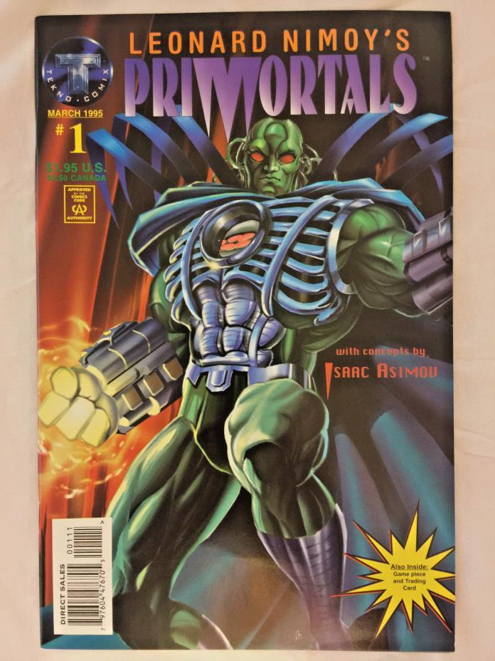COMIC BOOK LEONARD NIMOY'S PRIMORTALS ISSUE #1 1995 W/ TRADING CARD