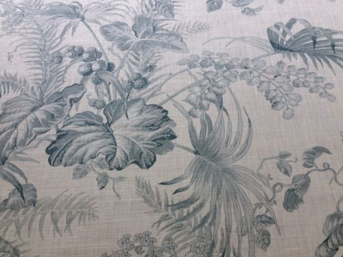 SCALAMANDRE TROPICAL TOILE LINEN PRINT GUSTAVIAN BLUE ON IVORY BTY