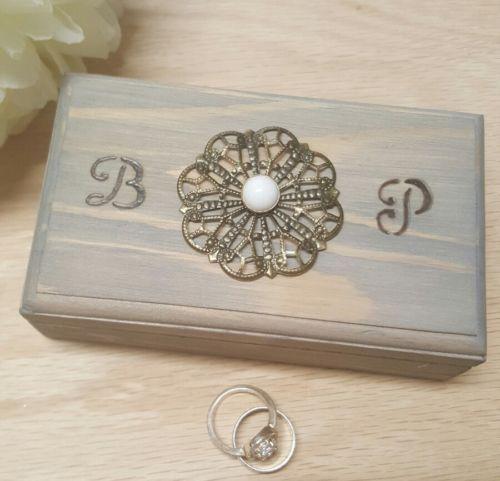 Ring Bearer Box Wedding Ring BOx Ring Holder Wooden Box Rustic Wedding Vintage