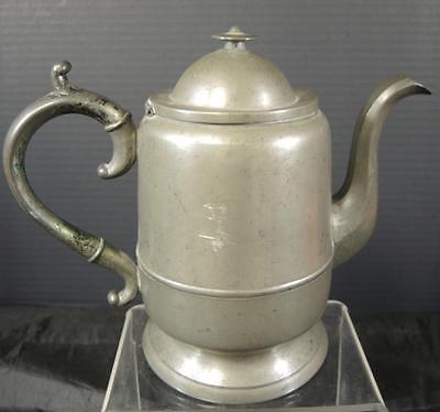 Early Antique Pewter Teapot * Goose Neck Spout