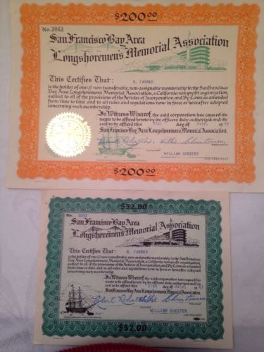 LONGSHOREMENS MEMORIAL ASSOCIATION SAN FRANCISCO BAY 2 CERTIFICATES FROM 1961