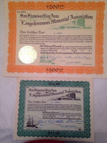 LONGSHOREMENS MEMORIAL ASSOCIATION SAN FRANCISCO BAY 2 CERTIFICATES FROM 1961