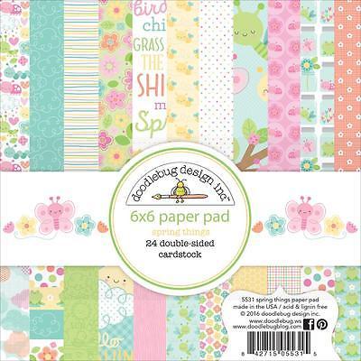 Spring Things Scrapbooking 6x6 inch Paper Pad Doodlebug 24 Sheets NEW