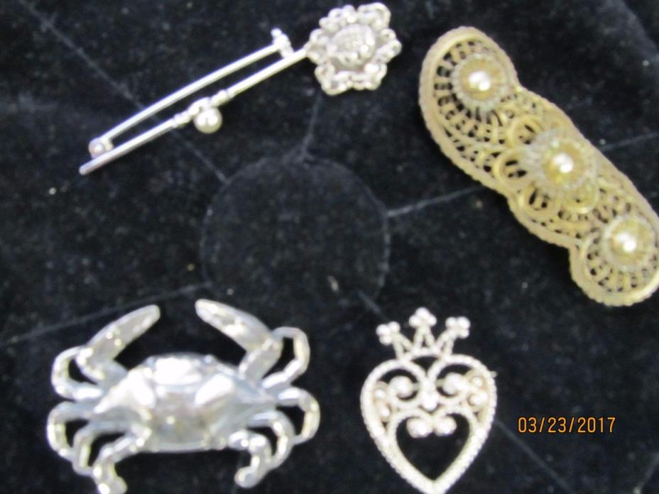 Lot of 5 Silver Brooches 38 Grams*