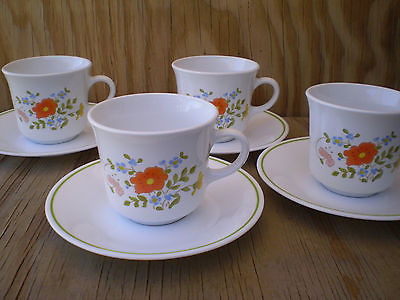 Corelle Dishes Wildflower Cups & Saucers 4 Sets