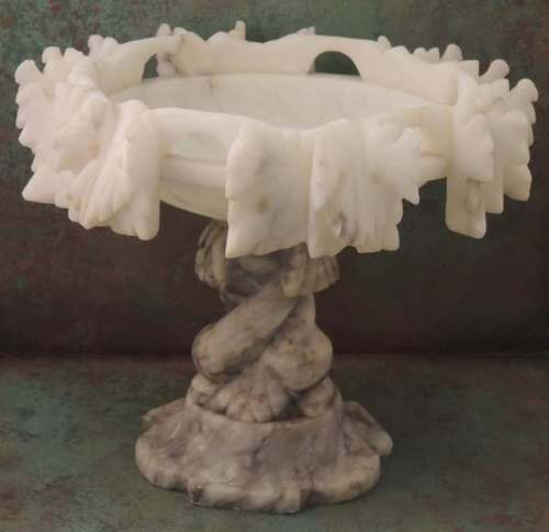 Rare Italian Carved Alabaster Tazza Pedestal Compote with Grape Leaves Dolphins