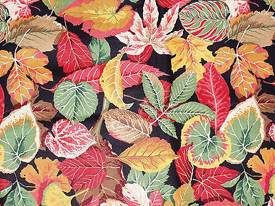 Wamsutta decorators Cotton fabric autumn fall leaves all-over print on black