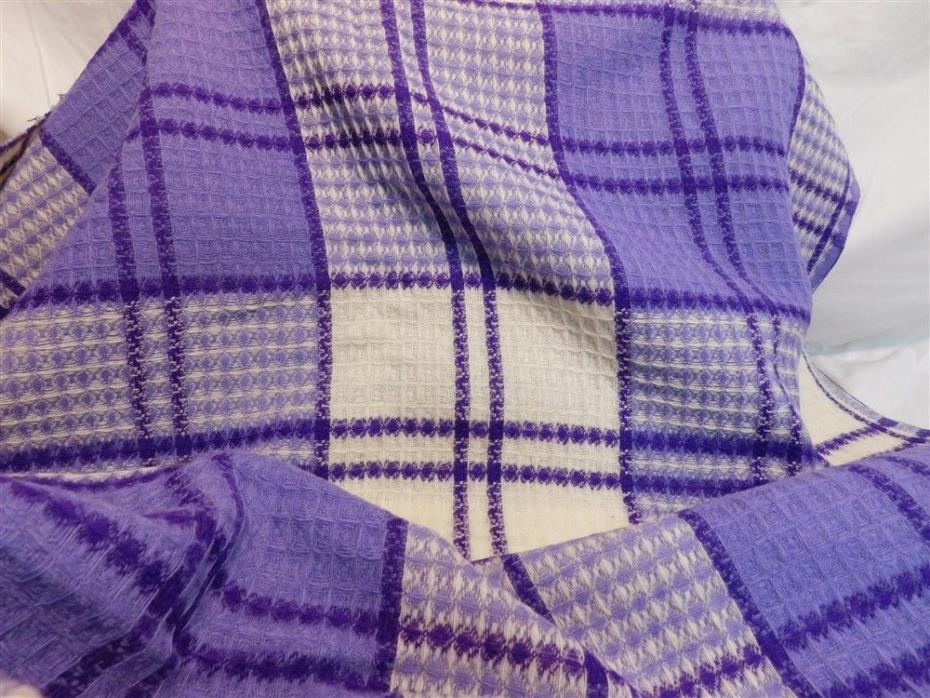 2 1/2 Yd Purple Lavender Plaid Vintage Wool Fabric 62
