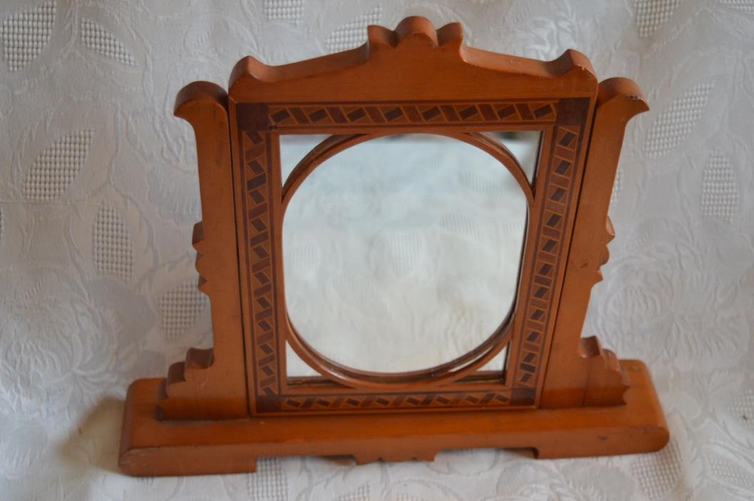 Antique marquetry swivel tabletop Mirror or Frame geometric pattern vintage 12
