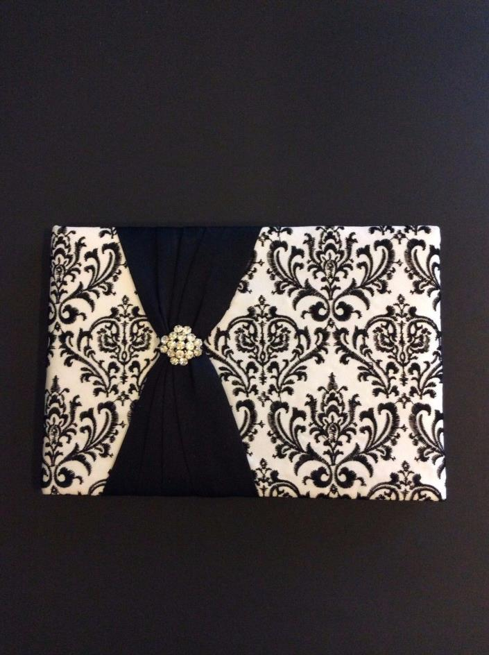 Decorative White And Black Wedding Guest Book Rhinestone Ribbon